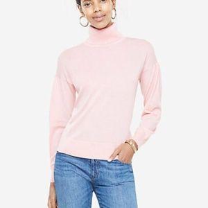 Ann Taylor turtle neck Pink Extrafine Merino Wool
